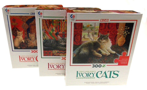 Ceaco Ivory Cats Jigsaw Puzzles Set 3 300 Pieces 24x18 Made USA Lesley Anne