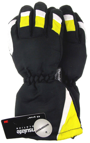 Joe Boxer Boys Yellow Black Ski Gloves 3M Thinsulate Waterproof Snow Winter NEW - FUNsational Finds - 1