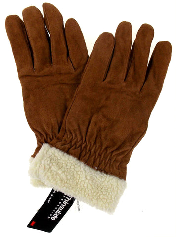 Jaclyn Smith Leather Suede Driving Gloves 3M Thinsulate Lined Light Brown Winter - FUNsational Finds - 1