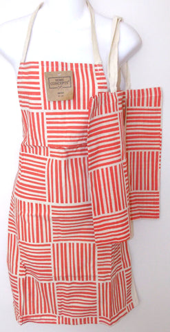 Red White Apron & Carry Bag Tote Set 2 Home Concepts Casa Printed 100% Cotton - FUNsational Finds - 1