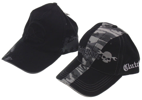 Rolling Steel Thunder Clutch Rider Adult Biker Hat Cap Black Gray Camo Skull Lot - FUNsational Finds - 1