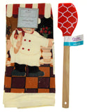 "Kitchen Towel Chef Cafe Scene 15""x25"" Red White Silicone Spatula Xmas Gift Set 2 - FUNsational Finds - 1"