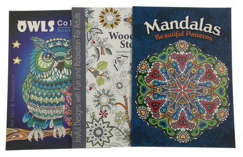 Adult Coloring Books Lot of 3 Woodland Mandalas Owls Quality Paper
