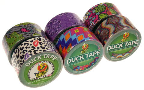 "Lot 6 Assorted Duck Tape Duct 1.88""x10yd Cheetah Lace Flower Purple Ikat Fever - FUNsational Finds - 1"