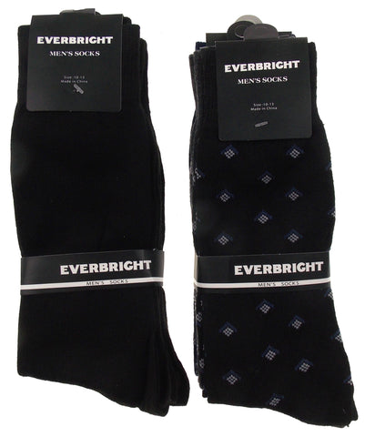 6 Pairs Mens Dress Socks Polyester 10-13 Gray Navy Solid Black Business Fashion - FUNsational Finds - 1
