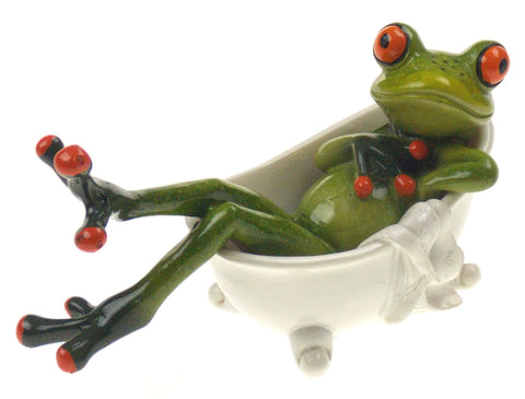 Frog Sitting In Claw Foot Bathtub Figurine Home Decor Polystone Green Decorative