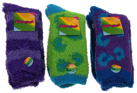 6 Pairs Fuzzy Crew Socks Krazisox Blue Green Purple Cozy Womens Size 4-10 Solid - FUNsational Finds - 1