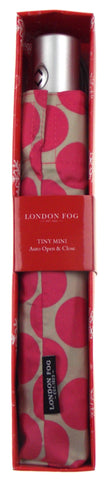 London Fog Red Polka Dot Gray Full Size Umbrella Auto Open Close Tiny Mini Thin