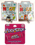 Give A Hoot Owl Pendant Necklaces Orange Black Pixy Stix Flavored Lip Balm Set 3 - FUNsational Finds - 1