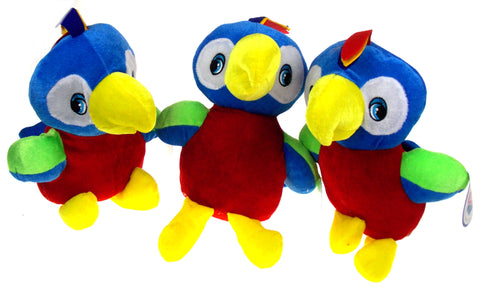 NANCO Tropical Parrot Lot of 3 Colorful Stuffed Animal Plush Toy Bird