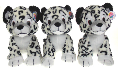 "NANCO White Black Snow Leopard 10"" Lot of 3 Stuffed Animals Soft Plush Toy"