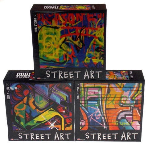 Cardinal Street Art Jigsaw Puzzle Set 3 1000 Pc 20x26 Made USA Abstract Colorful - FUNsational Finds - 1