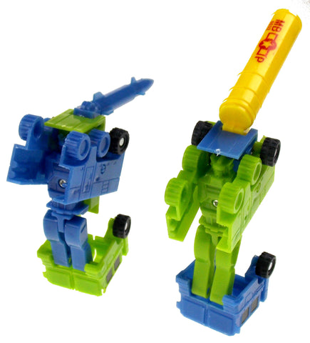 Transforming Tank Robot Plastic Toy Lot 11 Party Favors Cake Toppers Green Blue - FUNsational Finds - 1