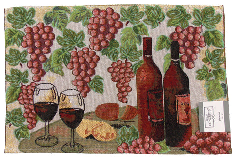 Wine Tapestry Set 4 Placemats 13x19 Grapes Bottles Kitchen Dining Table Fabric