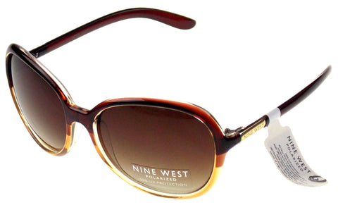 Nine West Cat Eye Sunglasses Brown Clear 100% UV Protection Plastic 60-19-135 - FUNsational Finds - 1