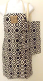 Black White Apron & Carry Bag Tote Set 2 Home Concepts Casa Printed 100% Cotton - FUNsational Finds - 1