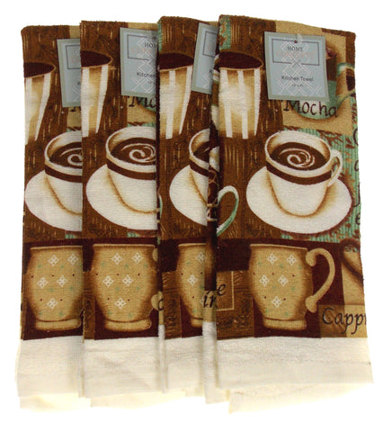 "Coffee Cup Mocha Cappuccino Cafe Kitchen Dish Towels Hand Set 4 White 15""x25"""