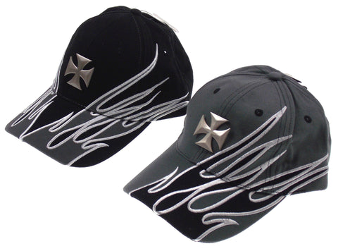 Rolling Steel Thunder Ride Or Die Adult Biker Hats Caps Gray Black Cross Flames - FUNsational Finds - 1