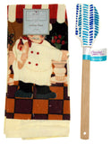 Kitchen Towel Chef Cafe Scene 15x25 Blue White Silicone Spatula Xmas Gift Set 2 - FUNsational Finds - 1