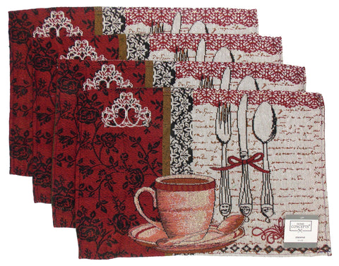 Chef Tapestry Coffee Set of 4 Placemats 13x19 Kitchen Table Cup Fabric Flowers
