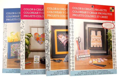 DCWV Color & Create Projects Set of 4 Books Cardstock Butterflies Blossoms Birds