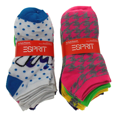 20 Pairs No Show Socks Esprit Women Size 4-10 Pink Blue Green Yellow Multi Dots