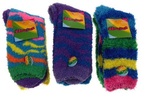 6 Pairs Fuzzy Crew Socks Krazisox Blue Green Yellow Cozy Women Size 4-10 Stripes - FUNsational Finds - 1