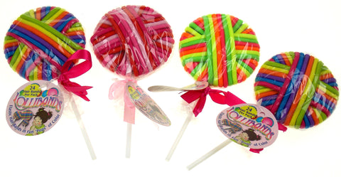 Lollibands Elastic Hair Bands Set 4 Lollipop Bright Colors Red Pink Green Purple - FUNsational Finds - 1