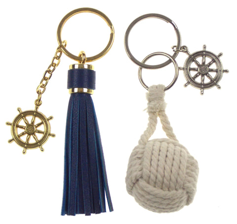 Nautical Theme Ships Wheel Tassel Rope Ball Set 2 Keychains Key Ring Maritime