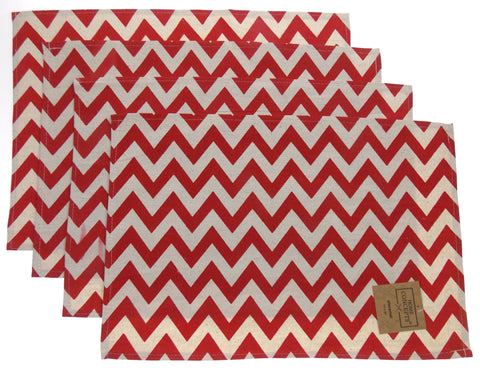 Red Green White Chevron Placemats Apron Carry Bag Tote Set Home Concepts Casa