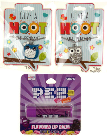 Give A Hoot Owl Pendant Necklaces Blue Silver PEZ Grape Flavored Lip Balm Set 3 - FUNsational Finds - 1