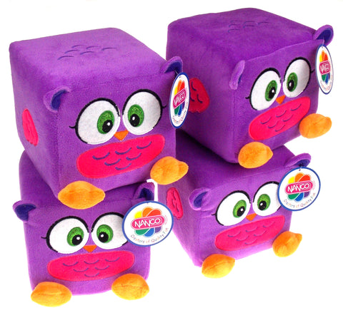 "Nanco Qubz Owl Purple Lot of 4 Soft Plush Stuffed Animal 6"" Cube Toy"