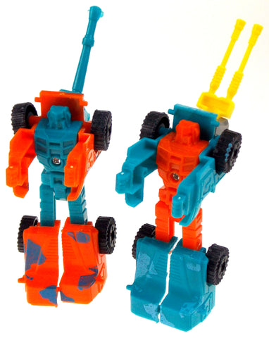 Lot 12 Transforming Tank Robots Toy Plastic Party Favors Cake Topper Blue Orange - FUNsational Finds - 1