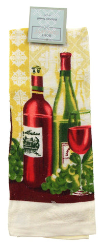 "Kitchen Towel Wine Bottle Glass Scene 15""x25"" Home Concepts"