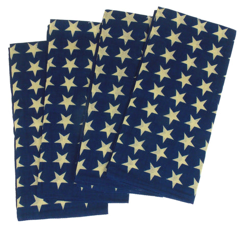 Blue Bandanas White Stars Lot 4 Patriotic USA Neckerchief Handkerchief Scarf