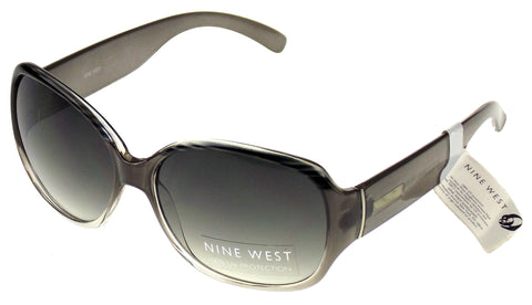 Nine West Cat Eye Sunglasses Gray Silver Stripe 100% UV Plastic 59-16-135 Case - FUNsational Finds - 1