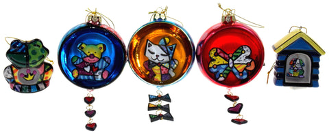 Romero Britto Christmas Ornaments Set 5 Frog Dog House Bear Cat Butterfly Ball - FUNsational Finds - 1