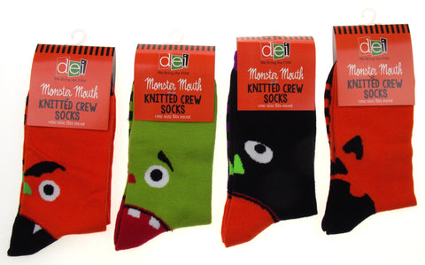 Halloween Monster Mouth Knitted Crew Socks Set of 4 Orange Black Green Stripes