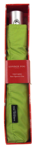 London Fog Green Full Size Umbrella Auto Open Close Silver Handle Tiny Mini Thin
