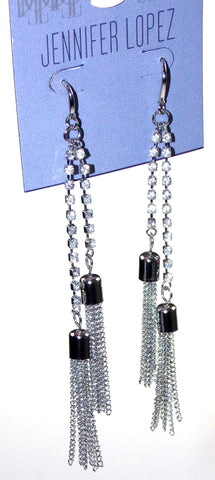Jennifer Lopez Pierced Earrings Silver Chain Fringe Drop Faux Crystal Dangle - FUNsational Finds - 1