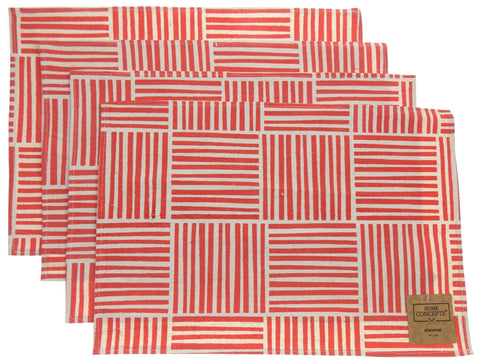 Red White Placemats 13x19 Apron & Carry Bag Tote Set 6 Home Concept Casa Printed