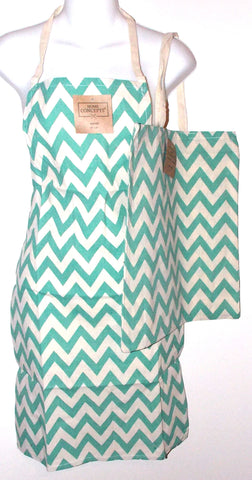 Green White Chevron Apron & Carry Bag Tote Set 2 Home Concepts Casa 100% Cotton - FUNsational Finds - 1