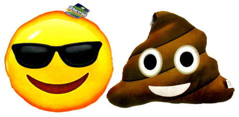 Emojeez Emoji Pillows Set 2 Sunglasses Smiley Smiling Poo Soft Plush Gift Round - FUNsational Finds - 1