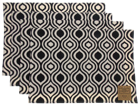 Black White Placemats Apron Carry Bag Tote Set of 6 Home Concepts Casa Printed