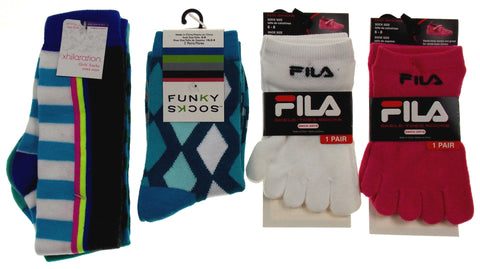 6 Pairs Socks FILA Skele Toes 5 Toe Xhilaration Knee High Funky Girls Pink White - FUNsational Finds - 1