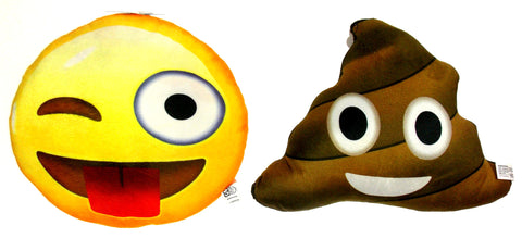 Emojeez Emoji Pillows Set 2 Sticking Tongue Smiley Poo Happens Sarcastic Never - FUNsational Finds - 1