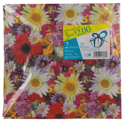 Plus Mark All Occasion Gift Wrap Flowers 8 Pkgs 66.4 sq ft Paper Daisies Purple