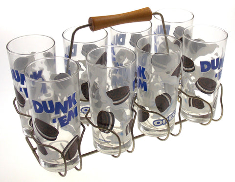 9 Piece Set of 8 OREO Drinking Glasses Carrier Rack Wood Handle Dunk Em Vintage