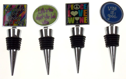 Wine Stopper Set of 4 Will Work For Shoes Peace Love Good Lifes Too Short Saying - FUNsational Finds - 1