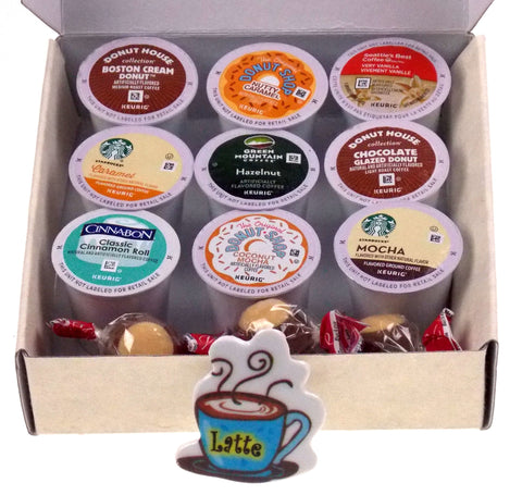 Coffee Lovers Gift Box Flavored K Cups Chocolate Buckeyes Latte Magnet 15 Pc Set - FUNsational Finds - 1